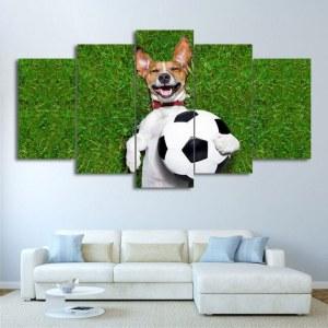Tableau chien tenant un ballon de foot