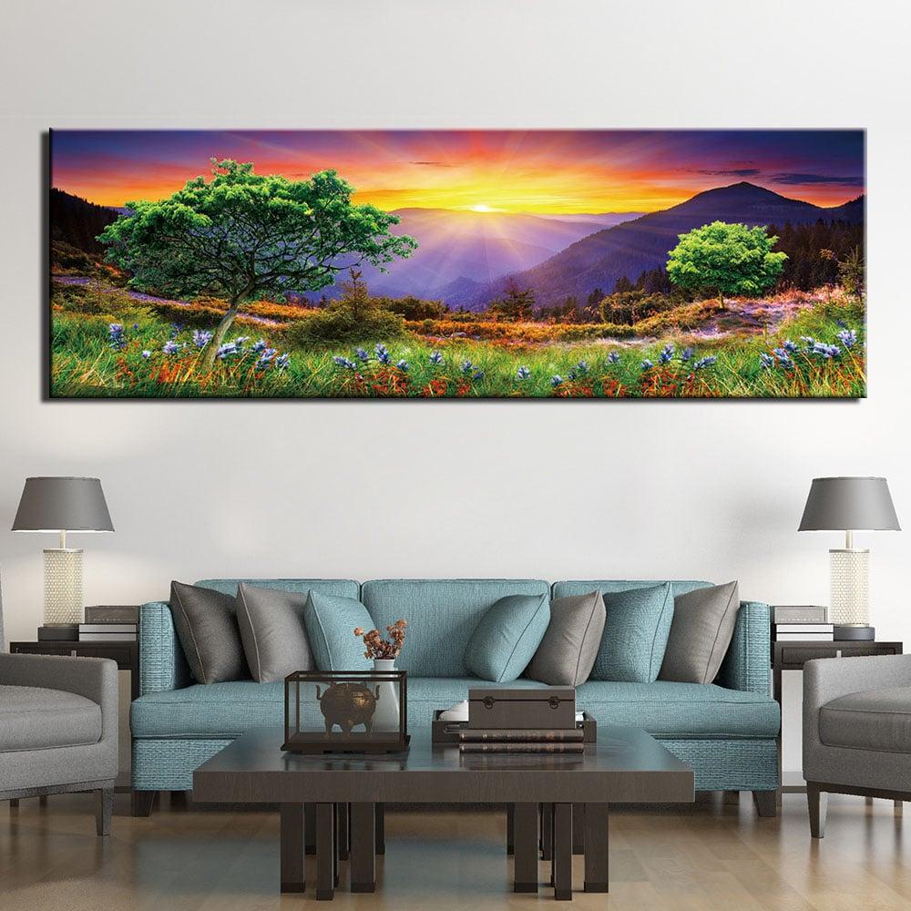 Tableau coucher de soleil à la montagne l'été