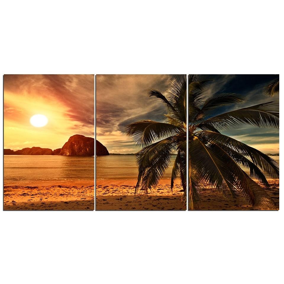Tableau coucher de soleil et cocotier