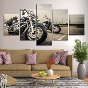 Tableau deux motos vintages