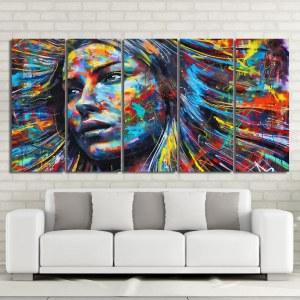 Tableau femme peinture multicolore