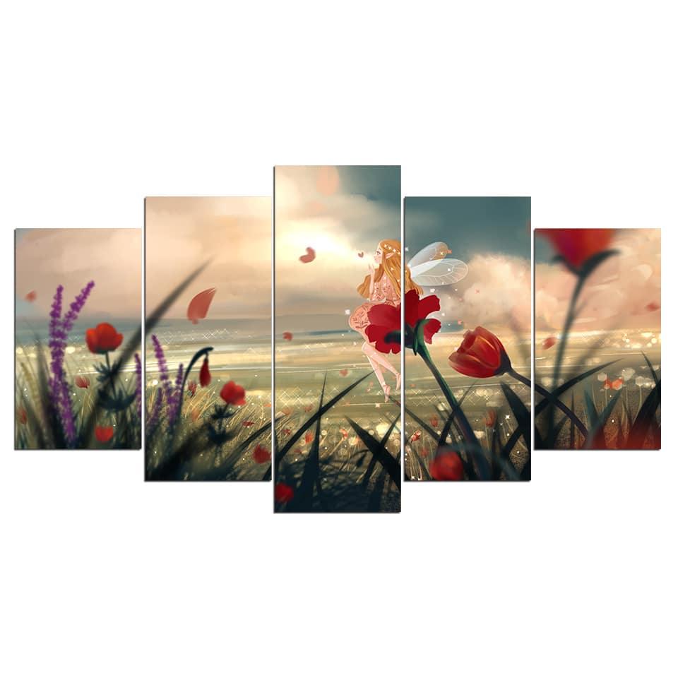 Tableau fleurs fée
