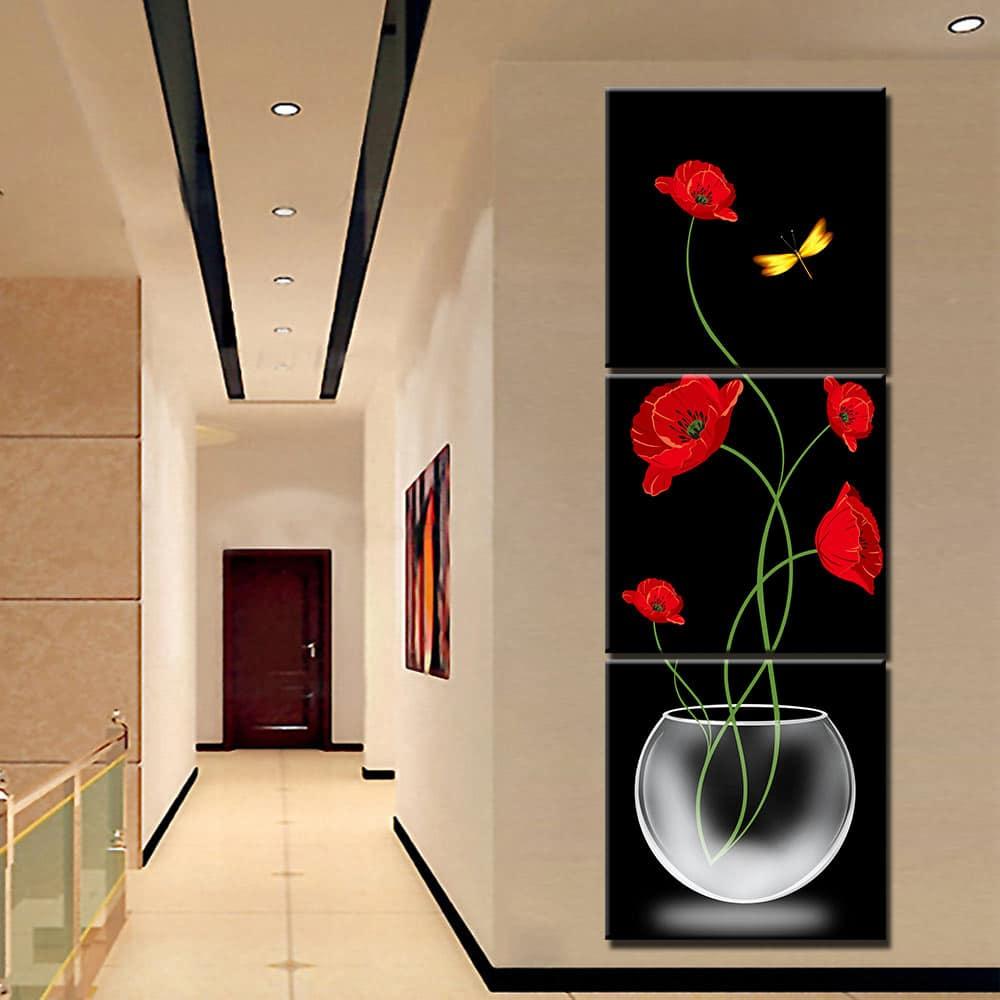 Tableau fleurs rouges vase