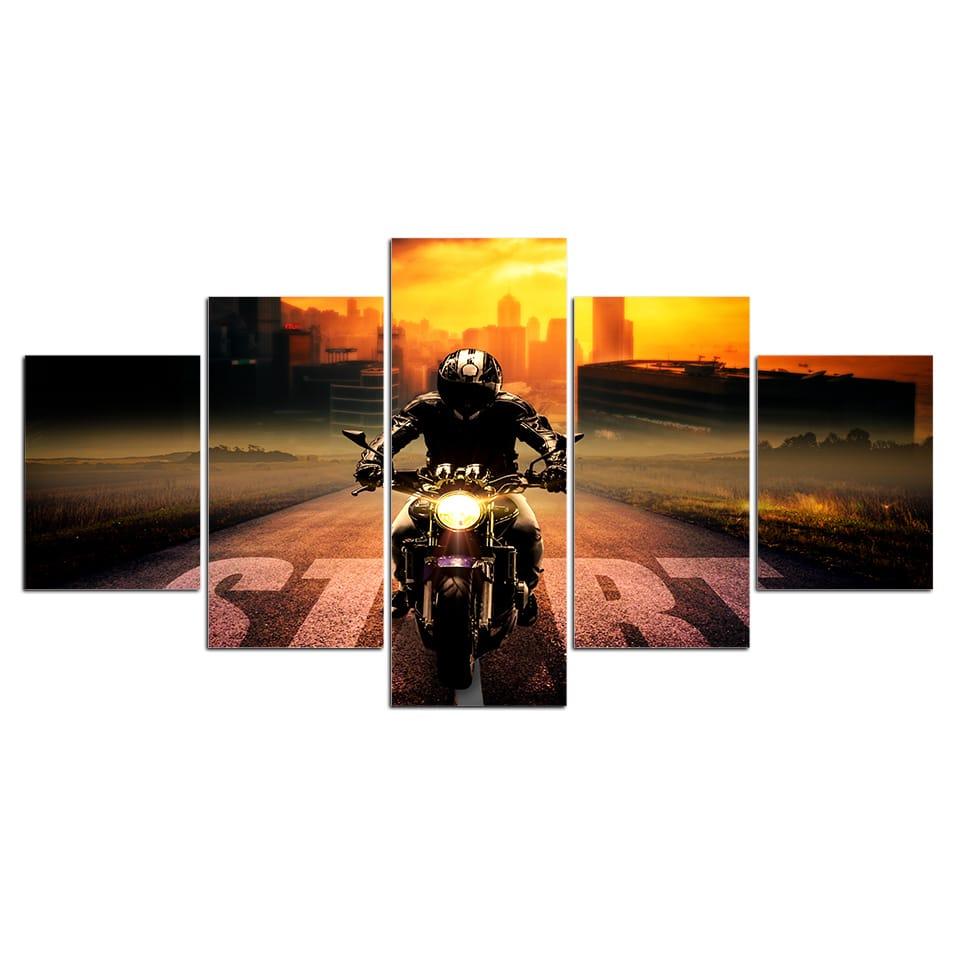 Tableau motard sur la route