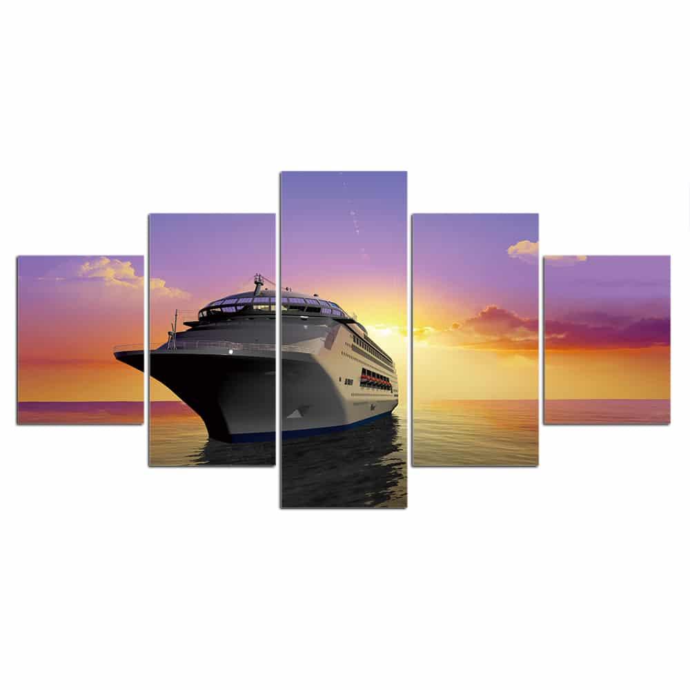 Tableau navire de croisière au couché de soleil