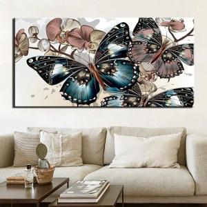 Tableau papillons bleu et rose 1 partie