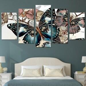 Tableau papillons bleu et rose