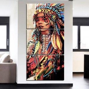 Tableau peinture guerrière Amérindienne
