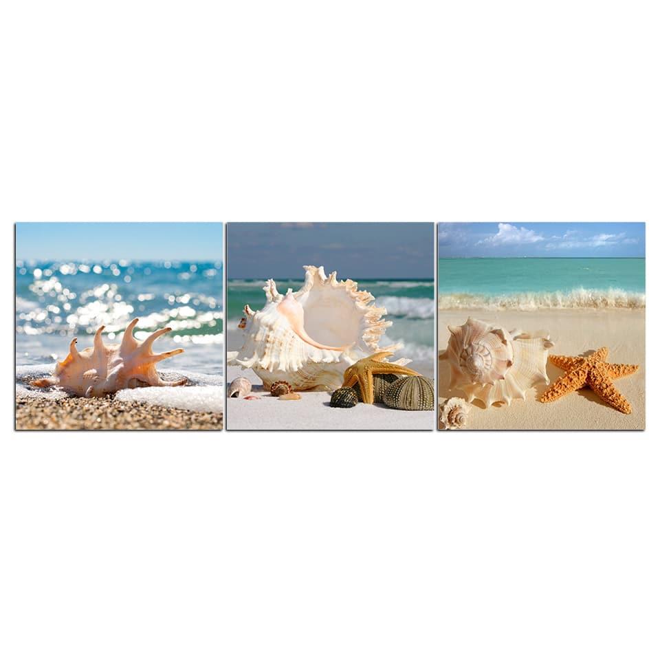 Tableau plage et coquillages