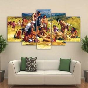 Tableau scène d'une tribu Amérindienne