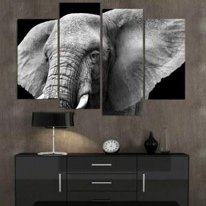 Tableau tête d'éléphant noir et blanc