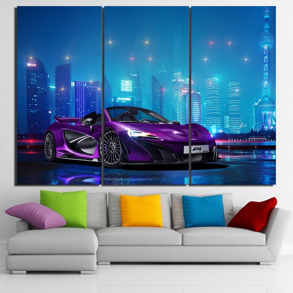 Tableau voiture de course violette