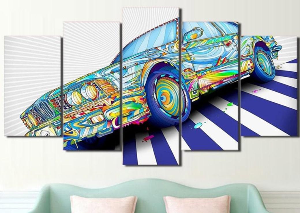 Tableau voiture vintage peinture multicolore