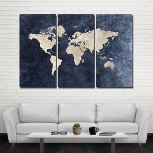 Carte du monde bleu denim