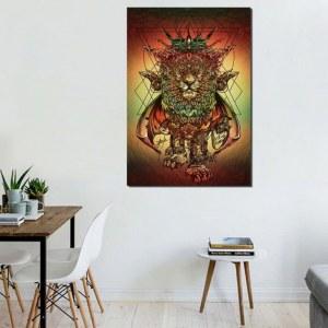 Lion au teinte rouge vert