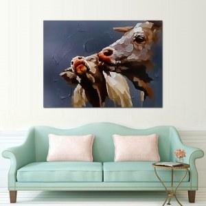 Tableau 2 vaches marrons peintures