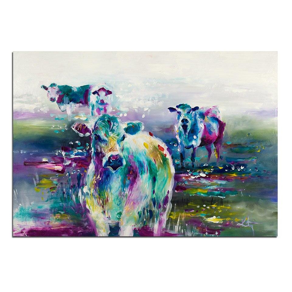 Tableau 4 vaches multicolores