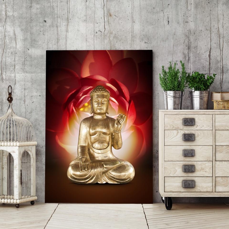 Tableau Bouddha et fleur de lotus rouge
