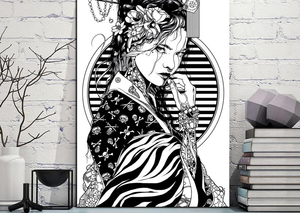 Tableau Geisha noir et blanc