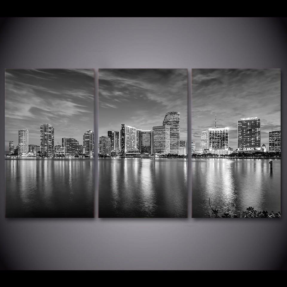 Tableau Miami noir et blanc
