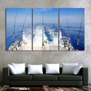 Tableau bateau de pêche à la ligne