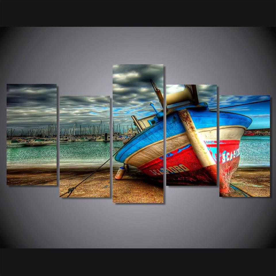Tableau bateau sur la plage