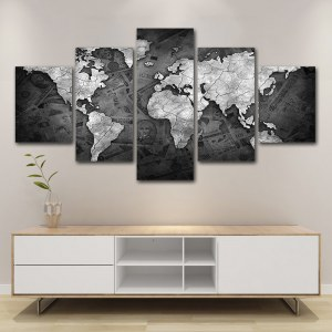 Tableau carte du monde argent argenté