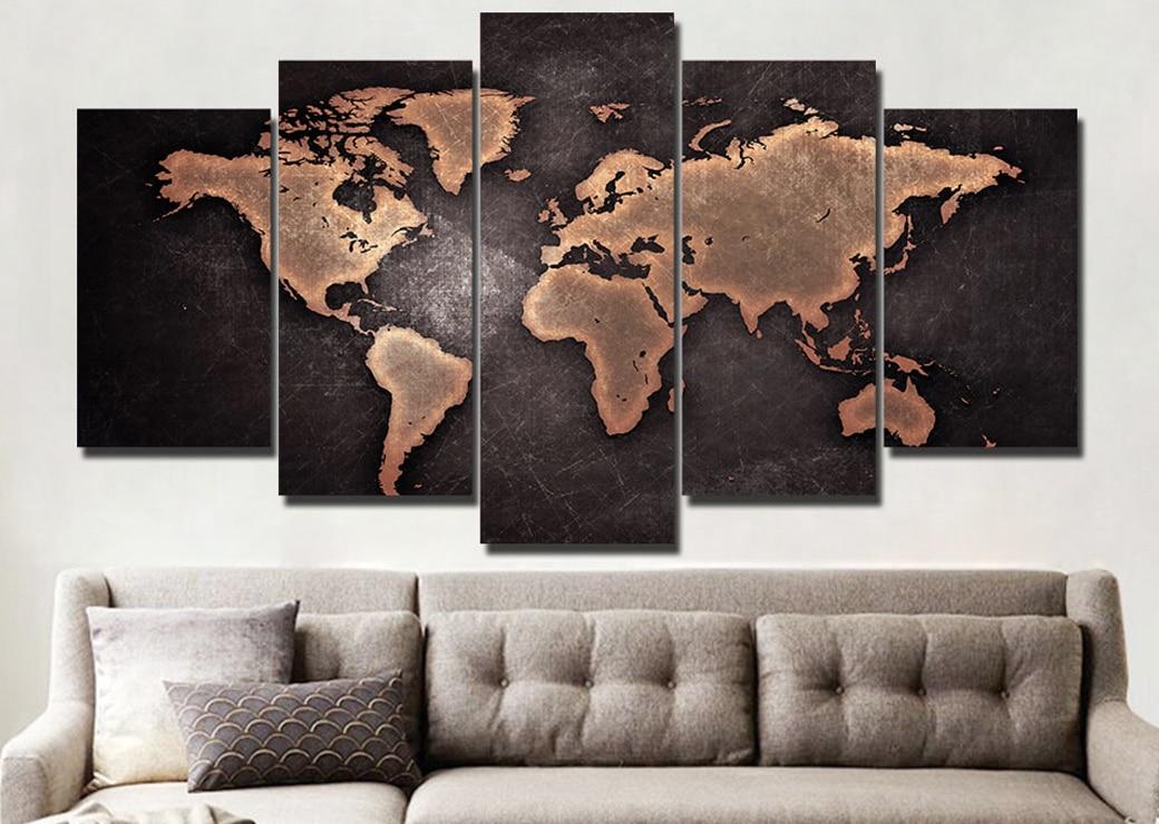 Tableau carte du monde noir et rouge