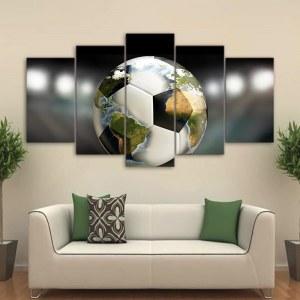 Tableau carte du monde sur un ballon de foot