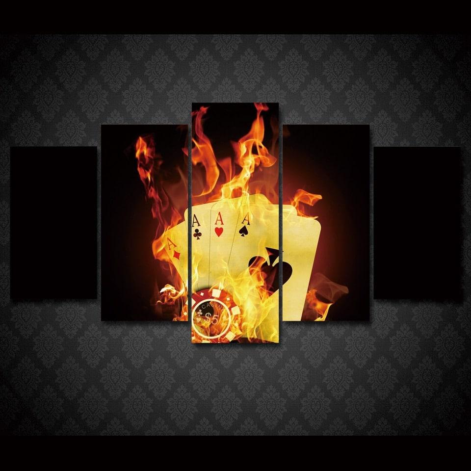 Tableau cartes et jetons enflammé