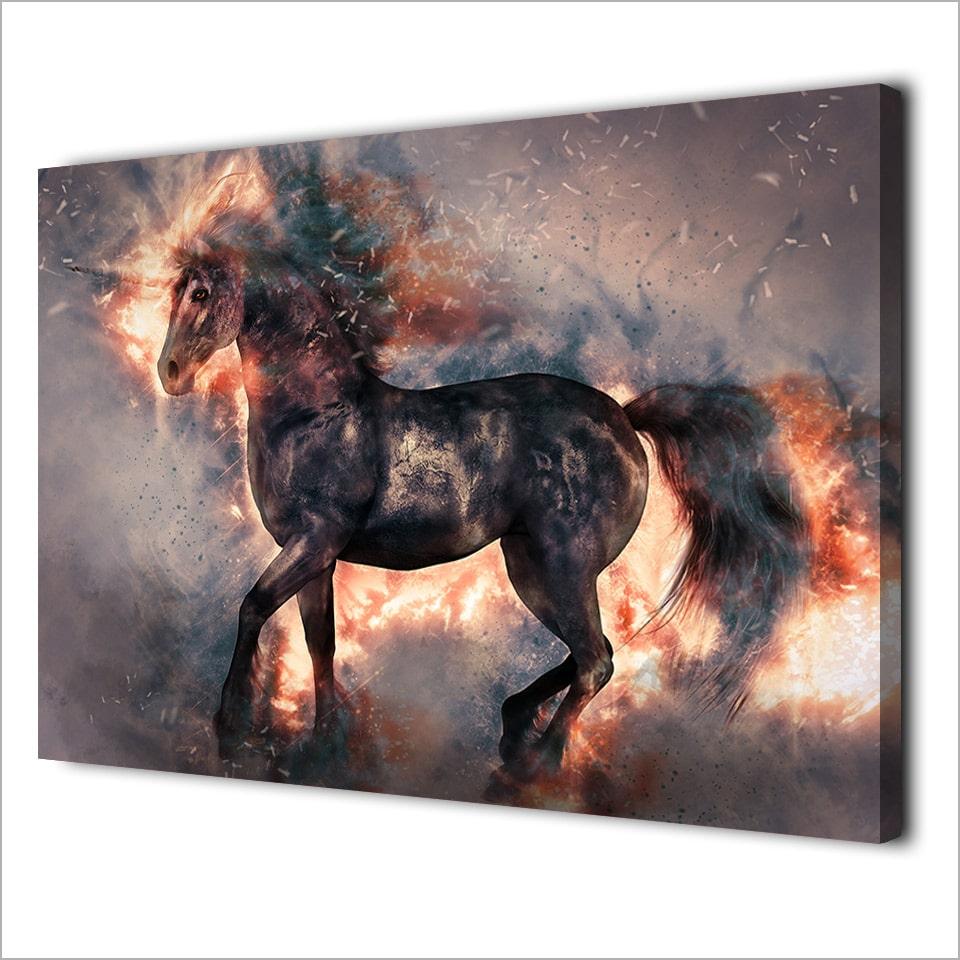 Tableau cheval licorne
