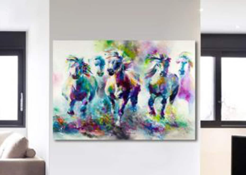Tableau chevaux multicolores