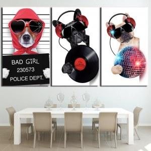 Tableau chien en fête