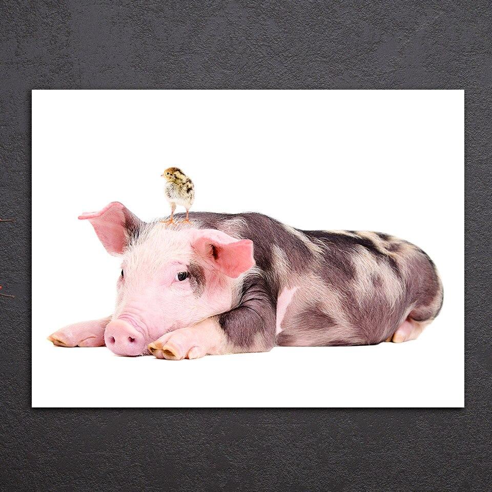 Tableau cochon et poussin