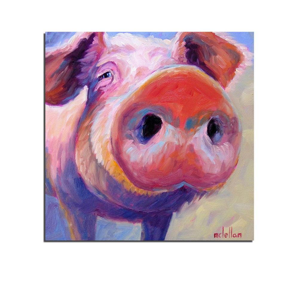 Tableau cochon rose peinture