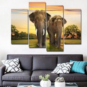 Tableau couple d'éléphant