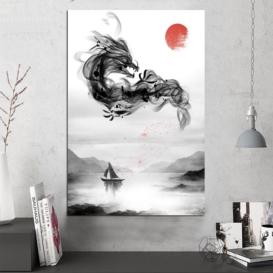 Tableau dragon au dessus du lac