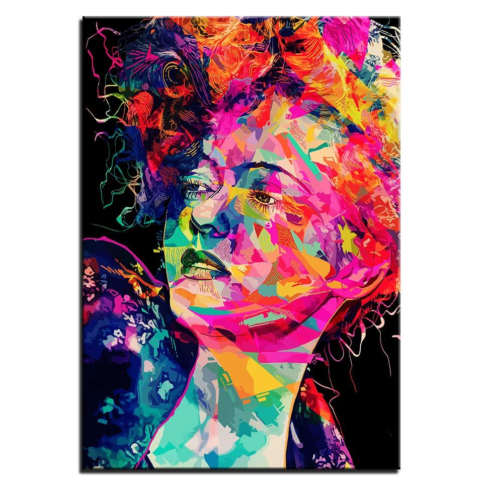 Tableau femme géométrique multicolore