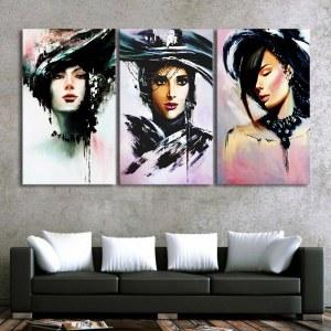 Tableau femmes à chapeau