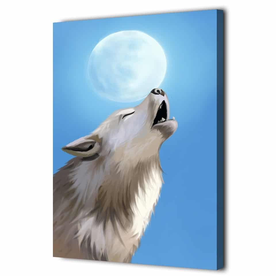 Tableau hurlement loup blanc pleine lune