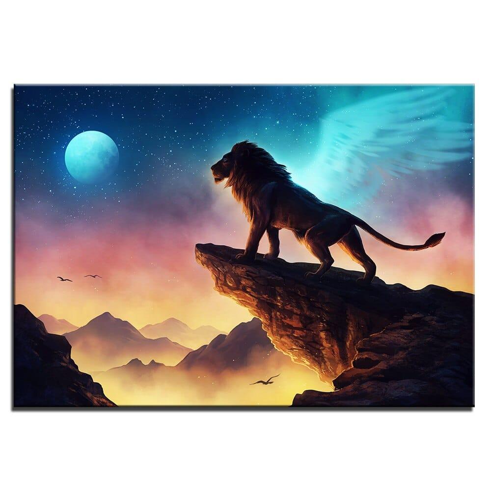 Tableau lion ailé pleine lune