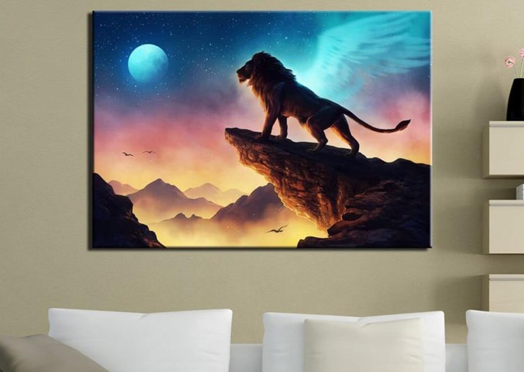 Tableau-lion-ailé-pleine-lune2