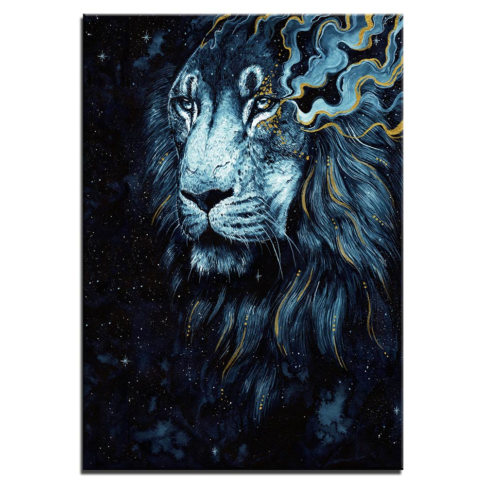Tableau lion bleu doré