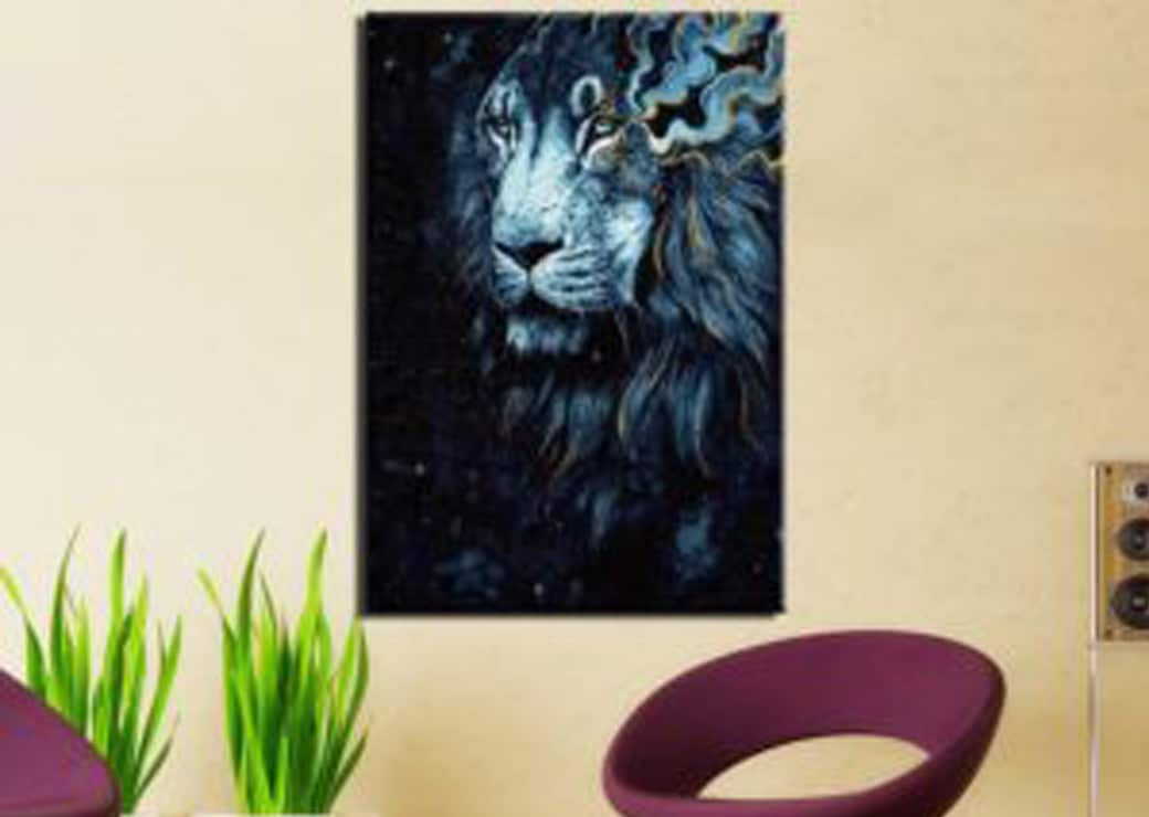 Tableau-lion-bleu-doré2
