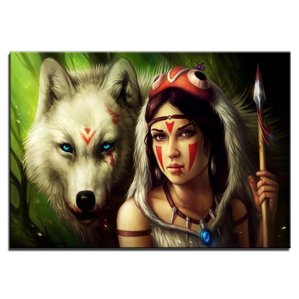 Tableau loup blanc et indienne