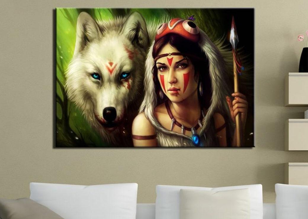 Tableau-loup-blanc-et-indienne2