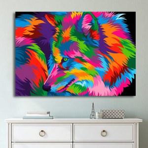 Tableau loup multicolore