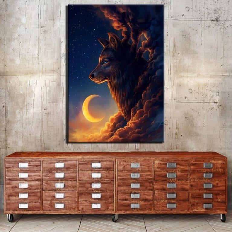 Tableau loup nuit au croissant de lune