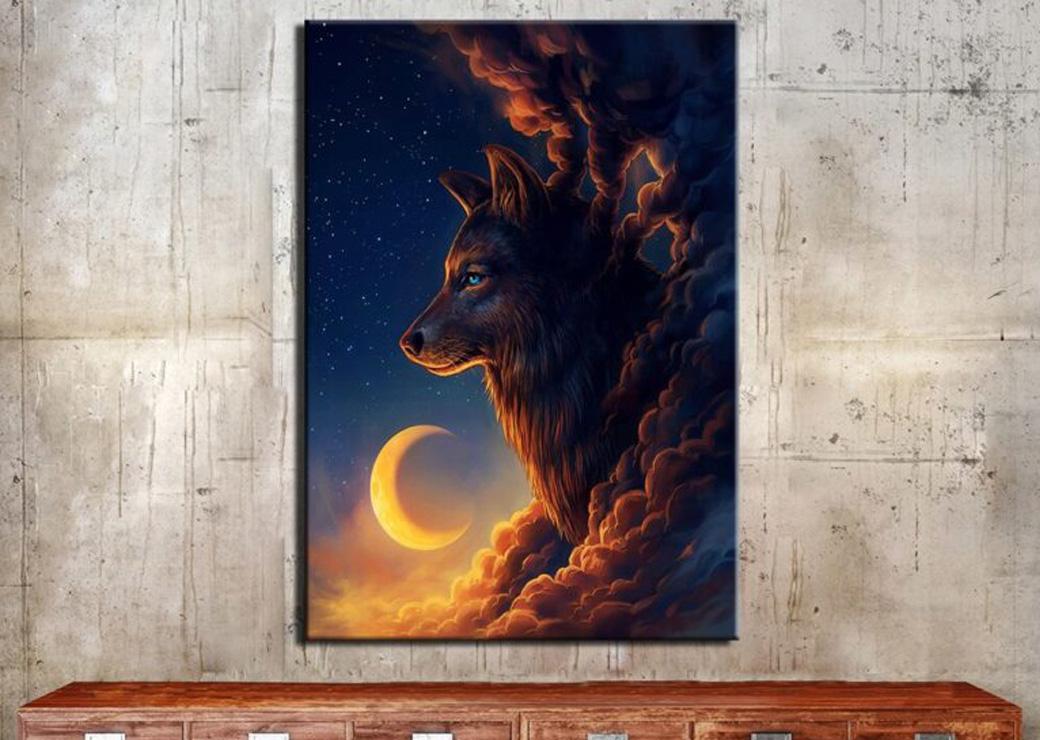 Tableau-loup-nuit-au-croissant-de-lune2