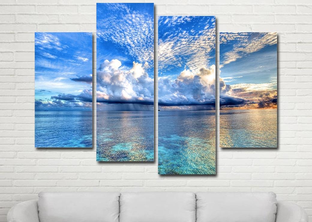 Tableau mer et ciel bleu